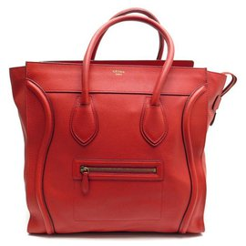 Céline-CELINE LUGGAGE MEDIUM HANDBAG IN RED SEED LEATHER LEATHER HAND BAG-Red