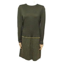 Chanel-NEW CHANEL LONG SLEEVE DRESS T 40 M IN KHAKI COTTON GOLD CHAIN DRESS-Khaki