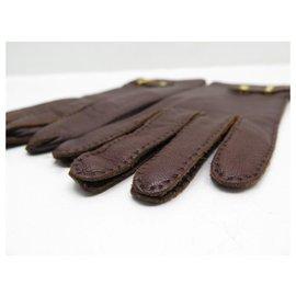 Hermès-HERMES SADDLE CLOUD GLOVES 7 IN EVERGRAIN LEATHER GLOVES BOX-Brown