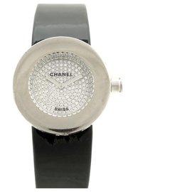 Chanel-CHANEL H WATCH0581 Round 29 MM QUARTZ WHITE GOLD & DIAMONDS GOLD WATCH-Black
