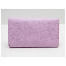 Fendi-NEW FENDI ELITE KEYCHAIN 8AP079 Saffiano leather 6 KEY + KEY HOLDER BOX-Pink