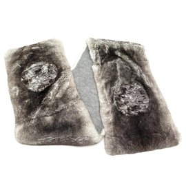 Chanel-NEW CHANEL CAMELIA SCARF IN RABBIT ORYLAG & CASHMERE FUR SCARF-Brown