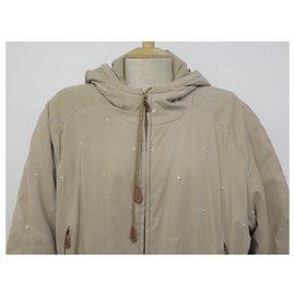 Hermès-MANTEAU HERMES LONG A CAPUCHE 42 L VISCOSE BEIGE VESTE BLOUSON JACKET COAT-Beige
