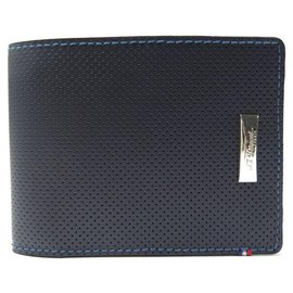 St Dupont-NEW ST DUPONT DEFI WALLET 170601 NAVY BLUE LEATHER WALLET CARD HOLDER-Navy blue