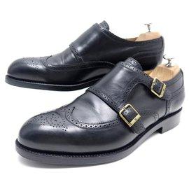 JM Weston-JM WESTON SHOES 334 Church´s Loafers 9E 43 BI-BUCKLE BLACK LEATHER SHOES-Black