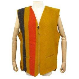 Hermès-NEUF VESTE SANS MANCHES HERMES ROCABAR XL 46 EN LAINE JAUNE RAYE NEW WOOL JACKET-Jaune