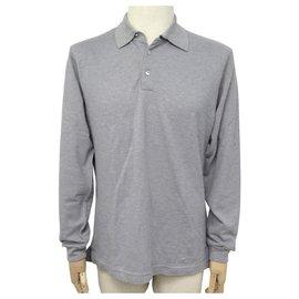 Hermès-NEW HERMES LONG SLEEVE POLO SIZE 46 S COTTON GRAY GRAY COTTON TSHIRT-Grey