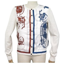 Hermès-NEUF GILET HERMES TWILLAINE EX LIBRIS GRIS QUARTZ 38 M EN SOIE & CACHEMIRE-Écru