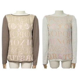 Hermès-NEUF PULL REVERSIBLE HERMES ALPHABET 38 M CACHEMIRE SOIE CASHMERE SWEATER-Taupe