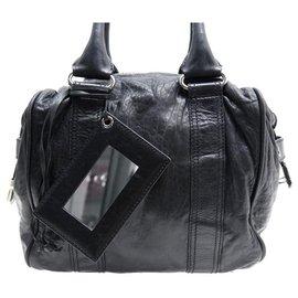 Balenciaga-BALENCIAGA BLACK BOXY HANDBAG 168035 BLACK LEATHER HAND BAG-Black