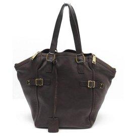 Yves Saint Laurent-YVES SAINT LAURENT DOWNTOWN HANDBAG IN BROWN BROWN HAND BAG PURSE-Brown
