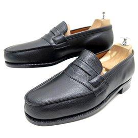 JM Weston-NEW JM WESTON SHOES 180 Church´s Loafers 5.5D 40 BLACK SEED LEATHER SHOES-Black