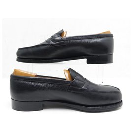 JM Weston-JM WESTON SHOES 180 Church´s Loafers 6.5D 41.5 BLACK SEED LEATHER + STAINLESS STEEL-Black
