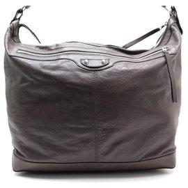 Balenciaga-BALENCIAGA ARENA HANDBAG 272810 BROWN LEATHER BAG TRAVEL WEEKEND-Brown