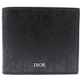 Christian Dior-NEW CHRISTIAN DIOR BLACK GALAXY OBLIQUE LEATHER WALLET + WALLET BOX-Black