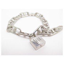 Christian Dior-RARE CHRISTIAN DIOR PETTIBON BIKE CHAIN SILVER METAL BRACELET NECKLACE BOX-Silvery