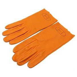 Hermès-HERMES EVELYNE H PERFORATED GLOVES IN ORANGE LAMB LEATHER 7 LEATHER GLOVES-Orange