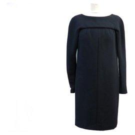 Chanel-CHANEL P MIDI LONG EVENING DRESS42252 40 M IN BLACK WOOL BLACK WOOL DRESS-Black