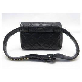 Chanel-CHANEL TIMELESS HANDBAG BELT BELT BLACK QUILTED LEATHER POUCH BELT BAG-Black