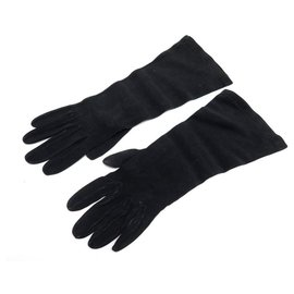 Hermès-PAIR OF SOIREE HERMES GLOVES SIZE 7 In black suede leather 3/4 LEATHER GLOVES-Black
