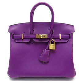 Hermès-NEW HERMES BIRKIN HANDBAG 25 PURPLE ANEMONE SWIFT calf leather HAND BAG BOX-Purple