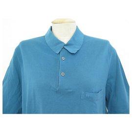 Hermès-NEW HERMES BUTTON EMBROIDERY POLO H XXL 60 NEW COTTON BLUE COTTON-Blue