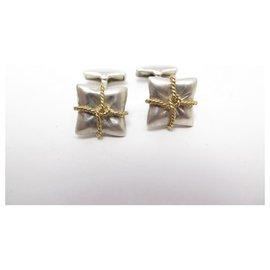 Hermès-HERMES HORNS CUFFLINKS KNOTS STERLING SILVER YELLOW GOLD 18K CUFFLINKS-Silvery