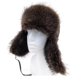 Hermès-NEW HERMES CHAPKA TSAR HAT112053N DEER RATON WASHER BOX HAT-Brown