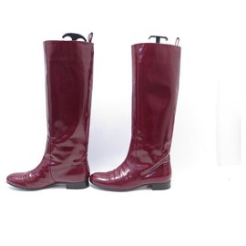Céline-CELINE BOOTS 38 BURGUNDY SPAZZOLATO LEATHER LEATHER BOOTS SHOES-Dark red