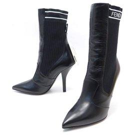 Fendi-NEW FENDI ANKLE BOOTS SOCK 8T6645 38 It 39 FR CANVAS & LEATHER BOOTS-Black
