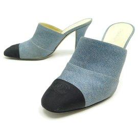 Chanel-CHANEL MULES L-HEEL SHOES32858 39 CC BLUE CANVAS + SHOES BOX-Blue