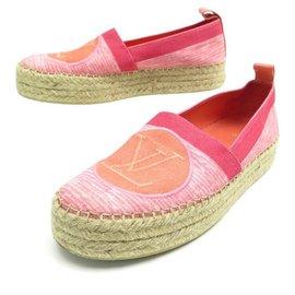 Louis Vuitton-NEW LOUIS VUITTON ESPADRILLES SHOES 36.5 PINK CANVAS SANDAL SHOES-Pink