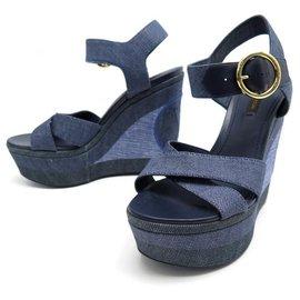 Louis Vuitton-NEW LOUIS VUITTON SHORE WEDGE SANDALS 36.5 CANVAS DENIM SANDALS-Blue