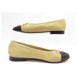 Chanel-CHANEL LOGO CC G BALLERINAS SHOES02819 37 IN BEIGE LEATHER SHOES-Beige