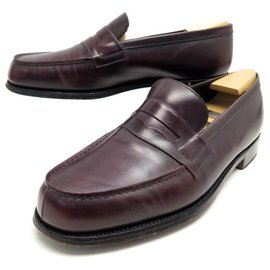 JM Weston-JM WESTON SHOES 180 LIMITED EDITION LOAFERS 9D 43 LEATHER + STAINLESS STEEL-Dark red