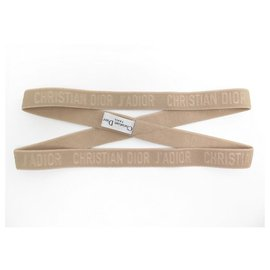 Christian Dior-NEW DIOR J'ADIOR HEADBAND IN ELASTIC BEIGE CANVAS NEW HEADBAND HEAD JEWELERY-Beige