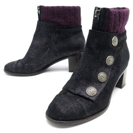 Chanel-CHANEL SHOES ANKLE BOOTS CC G BUTTONS29221 37.5 BLACK SUEDE BOOTS SHOES-Black