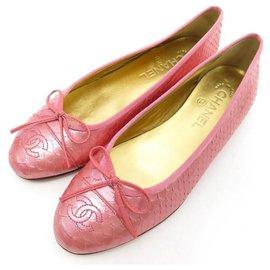 Chanel-NEW CHANEL BALLERINA CC G LOGO SHOES02819 38 PINK PYTHON + BOX-Pink