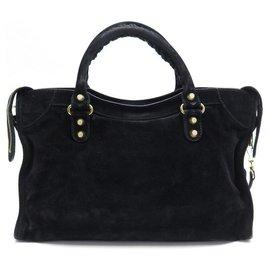 Balenciaga-BALENCIAGA CLASSIC CITY GIANT HANDBAG 12 281770 BLACK SUEDE HAND BAG-Black