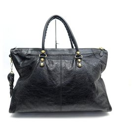 Balenciaga-Balenciaga Classic City Handbag 433429 TRAVEL BLACK LEATHER BANDOULIERE BAG-Black