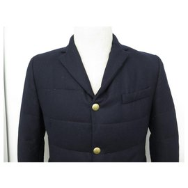 Moncler-NEW MONCLER GIACCA JACKET BLAZER QUILTED M 48 2 NAVY BLUE WOOL-Navy blue
