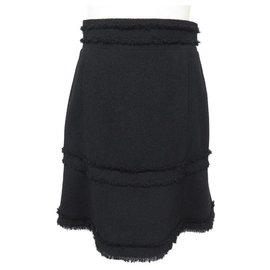 Chanel-NEW CHANEL P SKIRT31651 M 40 NEW BLACK WOOL SKIRT TWEED BLACK WOOL-Black