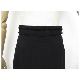 Chanel-NEUF JUPE CHANEL P31651 M 40 EN TWEED LAINE NOIR NEW BLACK WOOL SKIRT-Noir