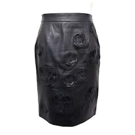 Chanel-NEW CHANEL CAMELIA P SKIRT38720 M 40 IN BLACK LAMB NEW LEATHER SKIRT-Black