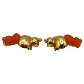 Christian Dior-PARFUM SHELL EARRINGS-Orange
