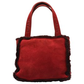 Chanel-SUEDED LEATHER HAND BAG-Red