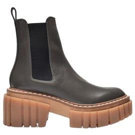 Stella Mc Cartney-Emilie Ankle Boots in Grey Polyurethane-Grey