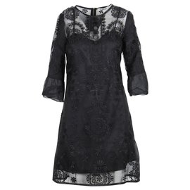 Chloé-Black Shift Dress With Embroidered Flowers-Black