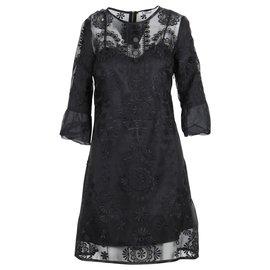 Chloé-Robe droite noire à fleurs brodées-Noir