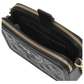 Tory Burch-Mini sac souple Fleming en cuir noir-Noir